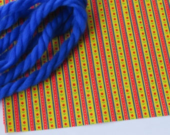 Vintage 70's Gift Wrap & Blue Yarn Tie ~ Any Occasion  ~ Red Yellow Blue ~ Ticking ~ Floral