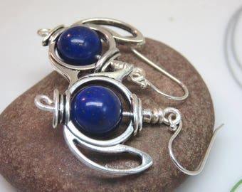 silver tea pot earrings - blue lapis lazuli teapot earrings -  lapis lazuli earrings - Valentine's day gift - anniversary gemstone earrings
