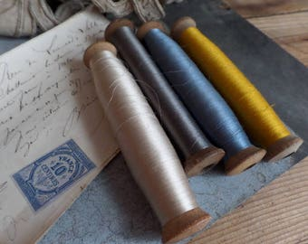 Old french spools  set of 4 spools bobbins with silk thread