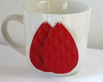Red Crimson Quilted Diamond Leather Teardrop Drop Earrings