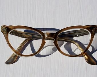 50's Rhinestone Cat Eye Glasses Horn Rimmed Sugar Dusted