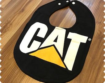 CAT Baby Bib, Caterpillar Recycled T-Shirt, Baby Shower Baby Boy Gift, Construction, Trucks,