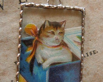 Fiona & The Fig - Vintage German Die Cut Scrap - Cat in a Box - Soldered Charm - Necklace - Pendant-Jewelry
