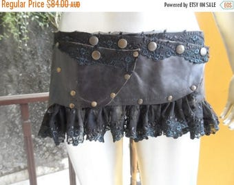 "20%OFF bohemian gypsy belly dance tribal vintage leather. and lace tutu/peplum belt...40"" to 48"" waist or hip.."