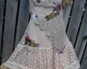 20%OFF boho wedding, formal. brides maid, mermaid, bohemian dress, tattered dress, party, woodland, gypsy wedding, woodland, shabby,4, 6,