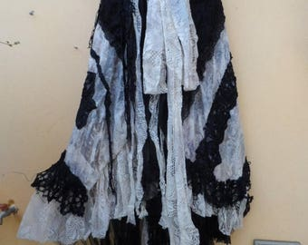 "20%OFF wedding vintage bohemian gypsy lagenlook boho wrap skirt...a work of art 44"" across plus ties."