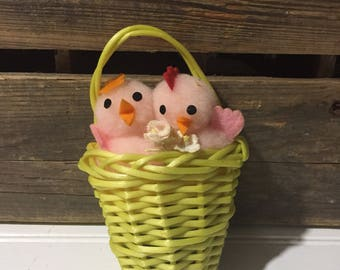 Vintage easter chick baby chick holiday decor decoration basket