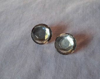 Two Vintage Glass and Metal Buttons for Eyes