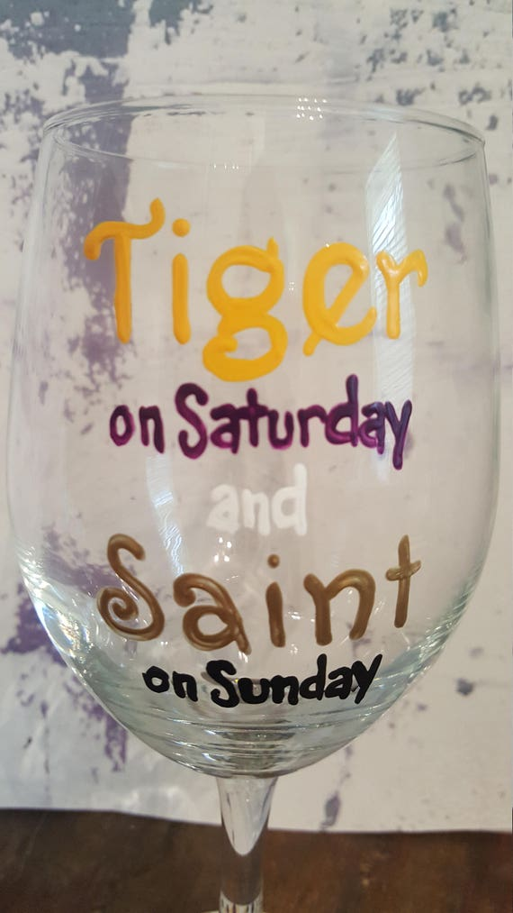 Tiger on Saturday Saint on Sunday Wineglass
