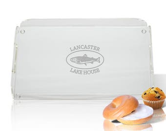Personalized Lake House Tray - Monogram Fish Serving Tray - Acrylic Outdoors  Serving ware - Hostess Gift - Lake House Gift - Cook Gift