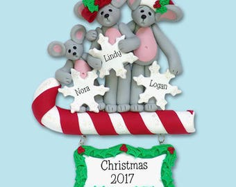Merry Mouse Family of 3 HANDMADE Polymer Clay Personalized Christmas Ornament