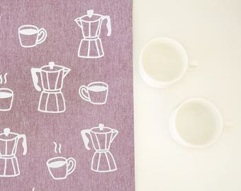 Decorative tea towel, Coffee tea towel, Coffee kitchen towel, Teatowel, Designer tea towel, Coffee lover, Coffee theme gift, Housewarming