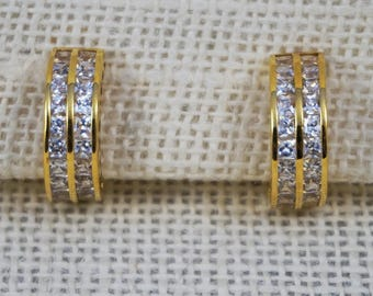 Sterling with Gold Plating Clear Sparkling Stone Semi-Hoop Earrings