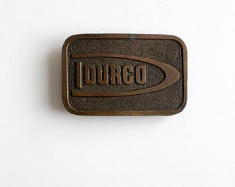 vintage brass buckle, Durco plate style buckle