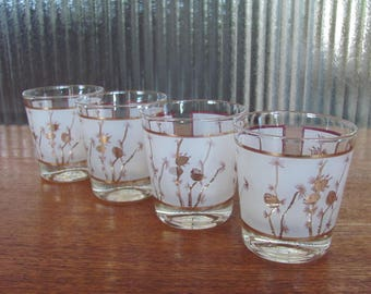 Vintage 60's Gold and Frosted Acorn Lowball Glasses - set of 4 - 60's Barware - Entertaining - 60's Lo-Ball Glasses