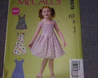 McCall 6878 girls dress Pattern, UNCUT, sz 6-7-8