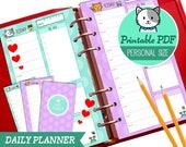 PRINTABLE Personal Size Daily Planner Cute Kawaii Kitty for Filofax Kikki.K Louis Vuitton Organizer Planner Instant Download