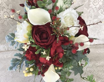 Burgundy Wedding BouquetWinter BouquetChristmas BouquetRed Bridal