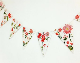 Pink Botanical Bunting, recycled flower garland, floral banner, up-cycled bunting, wedding decor, floral bunting