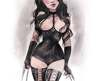 X23 lingerie Pin Up watercolor inspired by Xmen Marvel Art print Carla Wyzgala carlations