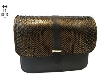"handbag ""LOUIS"" black leather and python antique gold"