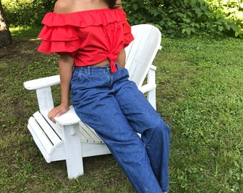 Mom jeans / 27 w / elastic waist / tapered legs