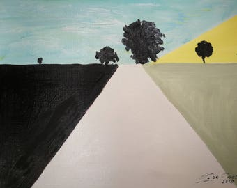 Trees oil painting-Horizon-Geometrical Abstract art-Blue-Black-Yellow-Minimalistic art-Modern decor-Country landscape-Large Road Painting