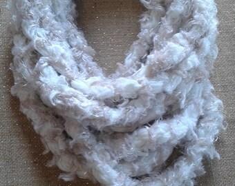 Crochet Scarf Necklace - Fuzzy White & Cream