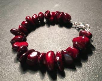 Men's Deep Red Quartzite Bracelet