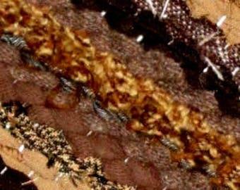 Hand woven,Scandinavian style  rag rug 1.7 feet by 5.77  feet(52 cm x 176cm) brown, beige, caramel ,ready for sale
