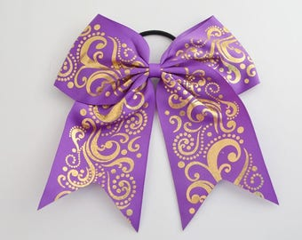 Cheer Bow Purple with  Gold Holographic Foil Swirls