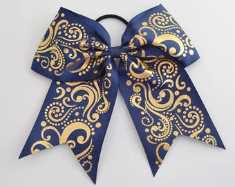 Cheer Bow Light Navy with  Gold Holographic Foil Swirls Back to School Bows