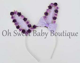 Lavender and Purple Colored Easter Bunny Ear Headband Rabbit Ear