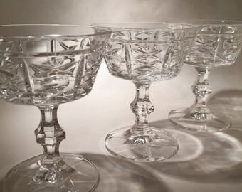 3 Cut Crystal Champagne Coupe Glasses