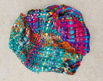 Hand Woven Throw, Accent Piece, Lap Blanket or Table Runner - Rainbow Recycled Sari Silk Ribbon, Continuous Weave, Fair Trade, One of a Kind