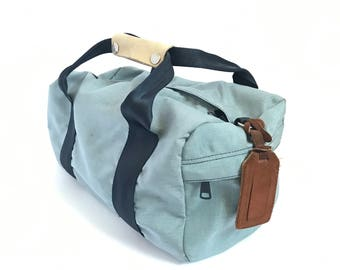 vintage small 80s COLOR block DUFFEL bag with LEATHER accent handle bag