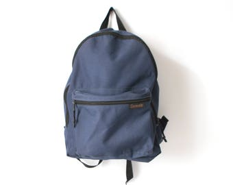 80s BACKPACK navy blue NYLON mountianeering daypack CLASSIC lightweight hiking biking bag