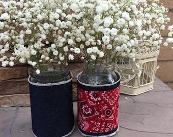 Mason Jar Wrap, Denim Jar Wrap, Jar Decoration, Shower, Party, Wedding, Centerpiece, Decoration