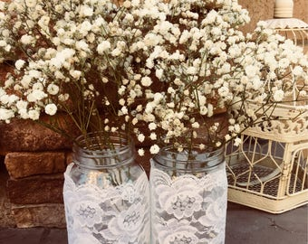 Mason Jar Wraps, READY to SHIP, Set of TWO, White Lace Mason Jar Decoration, Baby Shower, Party,  Wedding Decoration