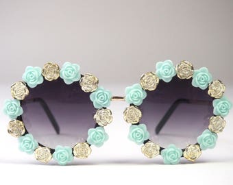 Festival SUNGLASSES blue and silver roses