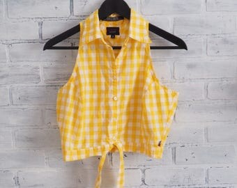 Vintage 90s Tommy Hilfiger Yellow and White Plaid Tied Crop Top