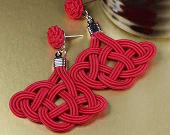 Chinese Knot (Cloud Knot) Earring - Simple, Practical, Elegant, Colorful, 925 Silver Earwire or Clip