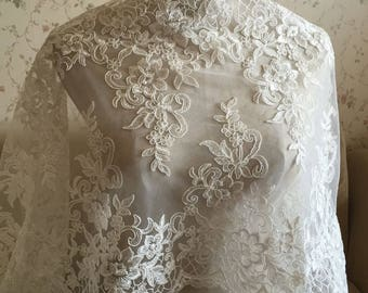 Ivory Alencon Lace Fabric Floral Wedding Lace Fabric Dress Coat Fabric 15.74 Inches Wide 1 Yard