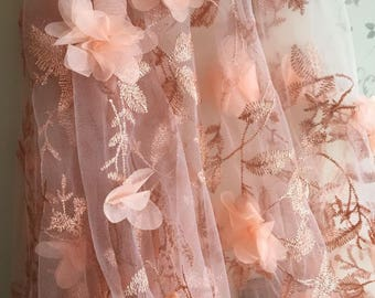 Gauze Lace Fabric With 3D Roses Peachy Pink Rosette Tulle Lace Fabric For Wedding Costome Bridal Dress 50 Inches Wide 1 Yard