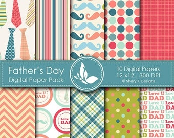 40% off Father's Day Paper Pack - 10 printable Digital Scrapbooking papers - 12 x12 - 300 DPI
