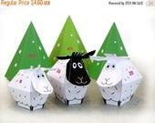 ADVENT CALENDAR -25 little Sheep and décor Paper Craft Kit- Diy-Paper Toy-Holidays décor- PRINTABLE pdf- Christmas Ornament
