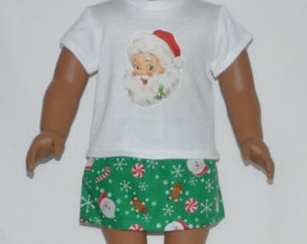 Cute Santa Skirt Set Doll Clothes Made To Fit 18 Inch American Girl Dolls