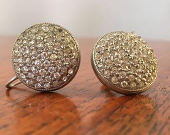 Vintage Rhinestone Circle Screw Back Earrings, vintage clip earrings, costume jewelry, costume earrings, holiday earrings