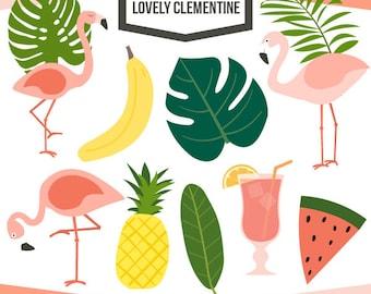 Tropical clip art,  flamingo clipart,  tropical vectors - commercial use Instant Download