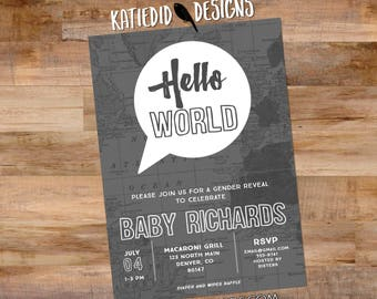 Adventure awaits baby shower invitation Hello world gender neutral reveal map rustic chic thought bubble sip see world gray 1481 diaper